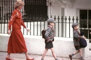 Diana, Princess of Wales, following her sons Prince Harry (right), then five years old, and Prince William, then seven, on Harry's first day at the Wetherby school in Notting Hill, west London.