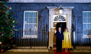 Donald and Melania Trump outside No 10.