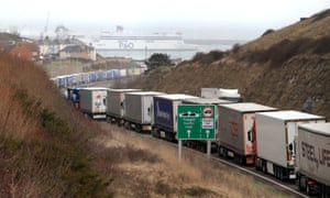 Lorries queue at the entrance to the Port of Dover in Kent