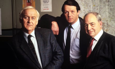 Colin Dexter, right, with John Thaw (Morse), left, and Kevin Whately (Lewis) on the set of the Inspector Morse TV series.