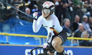 Kristina Vogel celebrates winning the women's sprint final at the track world championships in the Netherlands in March.