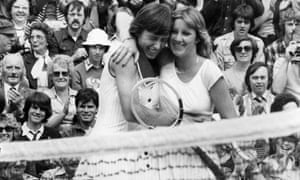 Winners: Martina Navratilova (left) and Chris Evert at the Wimbledon final, 1978. Navratilova won 2–6, 6–4, 7–5.