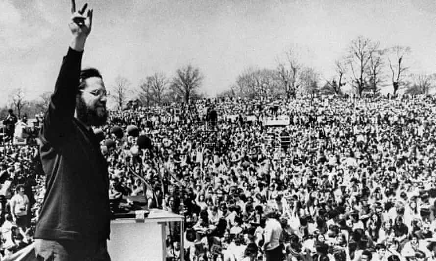 Ira Einhorn, a leading force in the 1960s hippie establishment, leads the April 1970 celebration of Earth Day in Philadelphia.