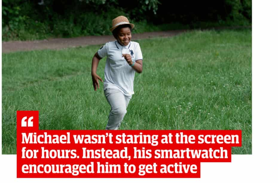 """Picture of Michael running, with quote: """"Michael wasn't staring at the screen for hours. Instead, his smartwatch encouraged him to get active"""""""