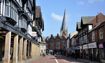 Knifesmithgate and the twisted spire of St Mary's church, Chesterfield