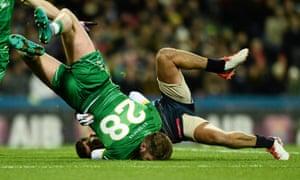 Aidan O'Shea of Ireland in action against Australia's Luke Hodge at the International Rules Test at Croke Park in Dublin