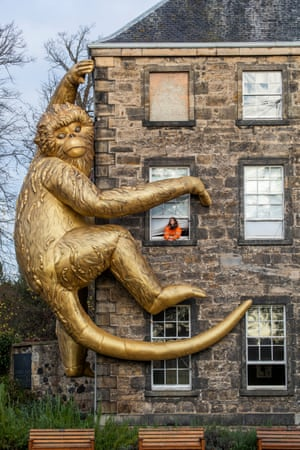 Edinburgh, Scotland. A Golden Monkey installation, by Australian ecological artist Lisa Roet, makes its UK debut on the exterior of Inverleith House at the Royal Botanic Garden Edinburgh. The 45-foot high inflatable sculpture aims to highlight primate species whose lives and habitats are under threat from the sprawling concrete jungles of the modern world