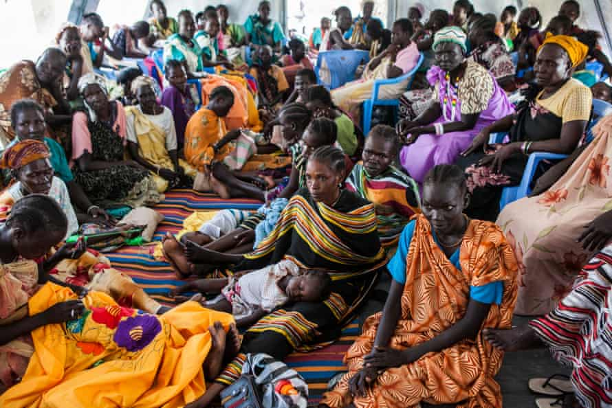 Women gather to speak about their lives in the Malakal camp at the International Medical Corps compound.