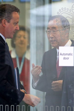 David Cameron talks with UN Secretary-General Ban Ki-moon