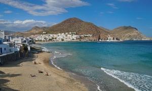 Landscape of San jose town and beach in the Cabo de Gata-Nijar natural park, Almeria, Andalusia, Spain