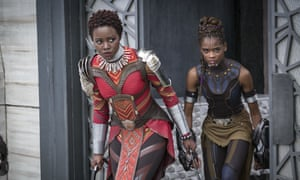Lupita Nyong'o, left, and Letitia Wright in a scene from Marvel Studios' Black Panther.