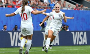England's Alex Greenwood celebrates with teammate Fran Kirby after scoring her team's third goal.