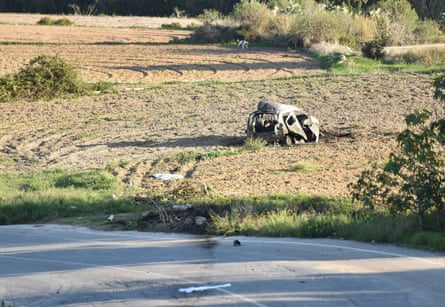The wreckage of the car belonging to Daphne Caruana Galizia.