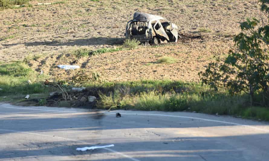 The wreckage of Caruana Galizia's car.