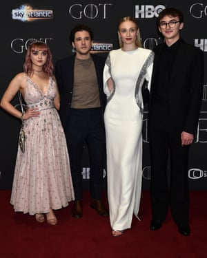Maisie Williams, Kit Harington, Sophie Turner and Isaac Hempstead Wright attend the Game of Thrones screening at the Waterfront Hall in Belfast.
