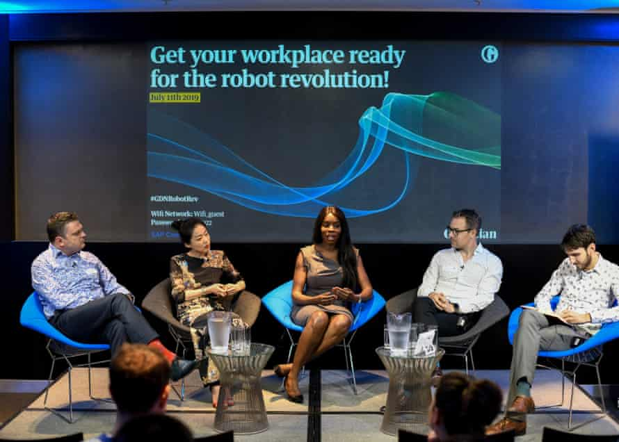 (Panel L-R) Manu Dell'Aquila, technology transformation manager, RED Solutions; Chelsea Chen, co-founder, Emotech; Cecilia Harvey, chief operation officer, Quant Network; Alastair Jardin, head of product, Trint; Alex Hern, UK technology editor, The Guardian. Pictured at the Guardian offices.