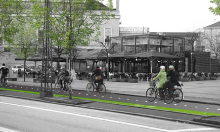 An architect's render of super bike paths in Copenhagen. Similar new high speed cycle lanes are planned for Berlin.