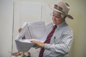 The member for Kennedy in north Queensland, Bob Katter, struggles with his Senate voting form at a polling booth in Edmonton, south of Cairns