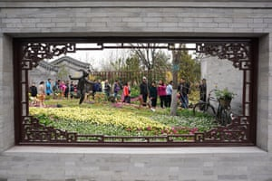 Visitors tour the Beijing Garden of the International Horticultural Exhibition 2019 Beijing during a trial run in Yanqing.