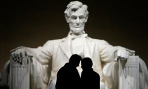 A couple shares a moment during a visit to the Lincoln Memorial in Washington.