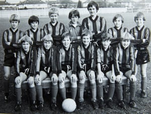 Mark Hazeldine, here with the ball at his feet, played in the same Blue Star team as Gary Speed, second from left back row. The team were not coached by Barry Bennell.