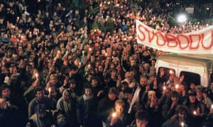 Czechoslovak students take part in a rally in support of Vaclav Havel for presidency, Prague, 17 November 1989.