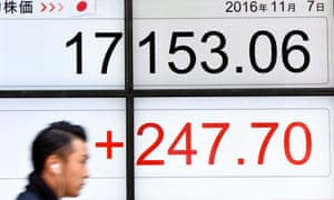 A businessman walks past a board flashing the Nikkei key index of the Tokyo Stock Exchange in Tokyo on Monday.