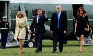 Donald Trump and first lady Melania Trump escort French President Emmanuel Macron and Brigitte Macron on a visit to the estate of George Washington in Mount Vernon, Virginia.
