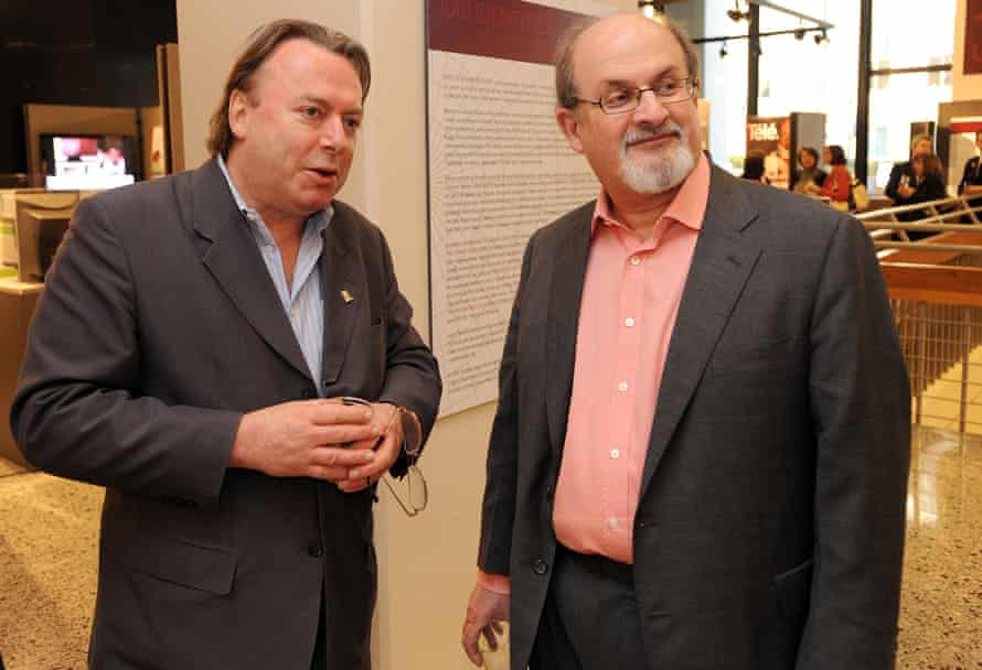 Novelist Salman Rushdie, right, with journalist Christopher Hitchens at an Emory University exhibit of Rushdie's work in Atlanta, Feb 2010