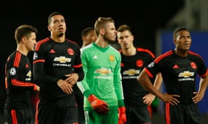 Manchester United's Chris Smalling, David De Gea and Antonio Valencia don't look too happy with the point.