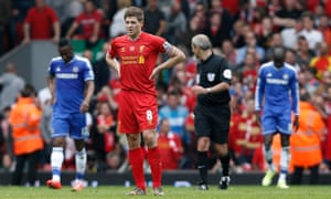 A dejected Steven Gerrard after his slip allowed Demba Ba to score Chelsea's first goal at Liverpool during the 2013-14 title run-in