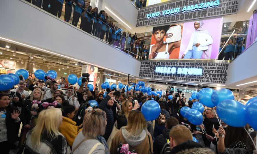 Customers with balloons at the grand opening of the world's largest Primark in Birmingham