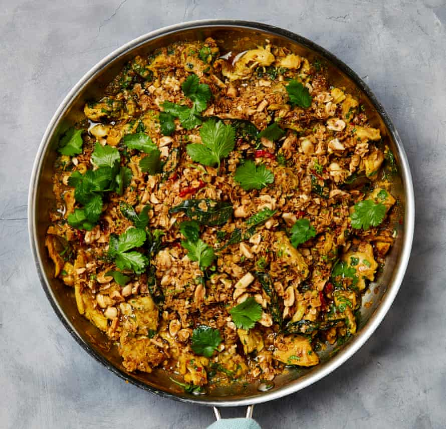 Ottolenghi's curry chicken with oat and peanut crumble