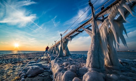 The Grand Haven Pier in St Joseph, Michigan, was covered by amazing formations of giant icicles