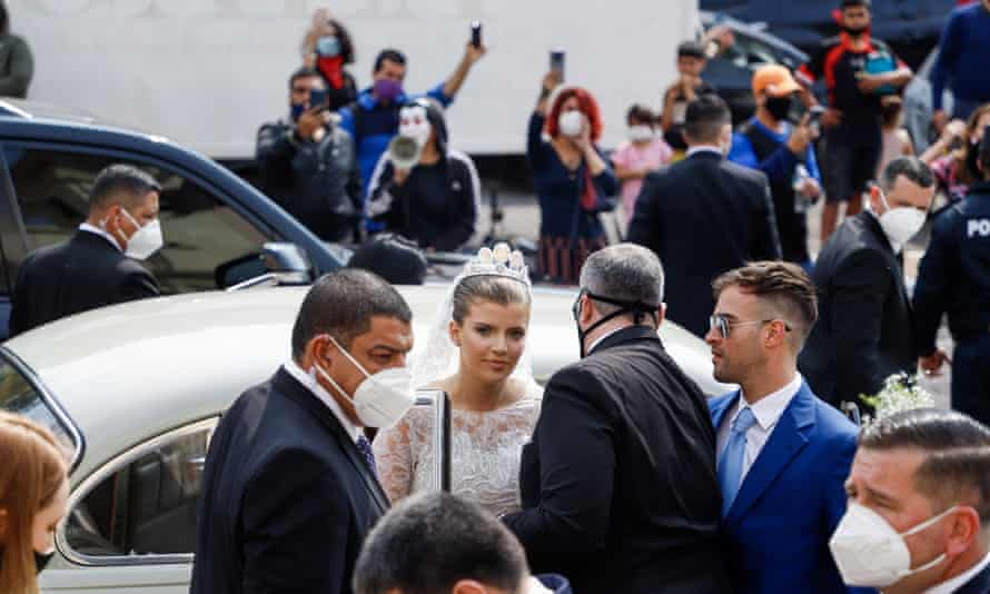 Sol Cartes, the daughter of former president Horacio Cartes, arrives for her marriage to businessman Patrick Bendlin, at the Metropolitan Cathedral of Asuncion, Paraguay, on 15 August.