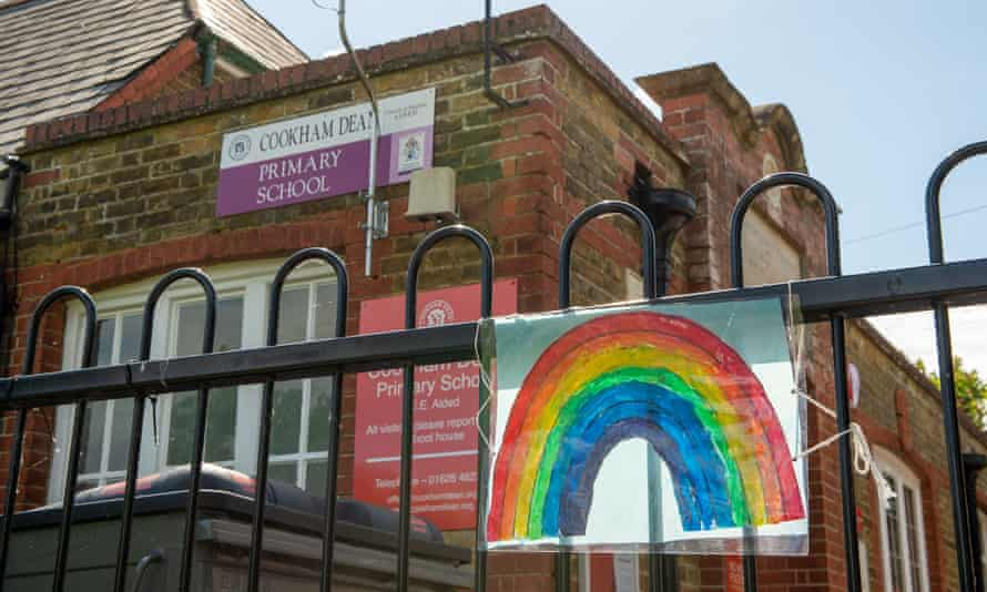 Rainbow painting on school gate