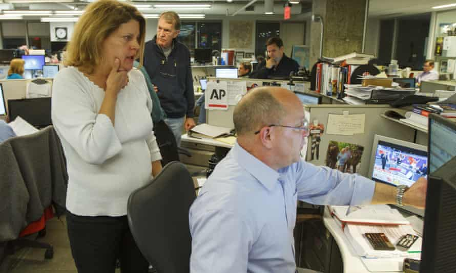 Sally Buzbee at work in the AP's Washington bureau on election night 2016.