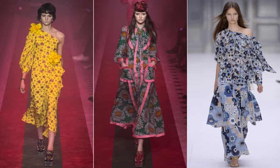 Florals, as seen at Gucci at Milan and Chloé at Paris.
