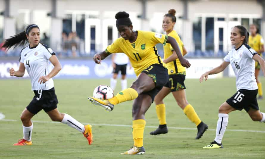 Khadija Shaw in action for Jamaica against Costa Rica in 2018.