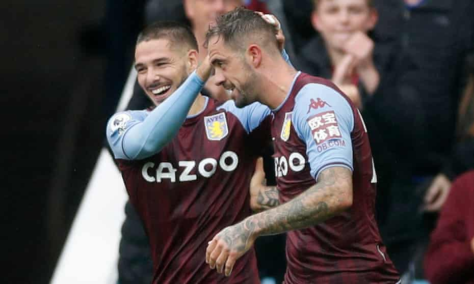 Danny Ings celebrates with Emi Buendía after scoring for Aston Villa against Newcastle.