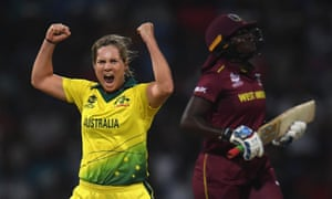 Delissa Kimmince of Australia celebrates after dismissing West Indies captain Stafanie Taylor.
