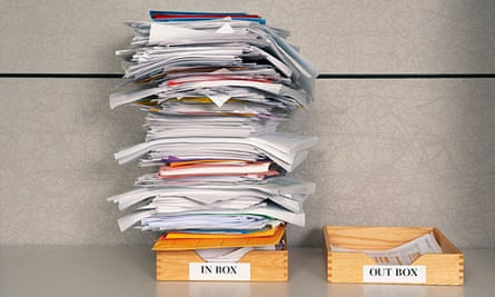 Still life of paper stack in office