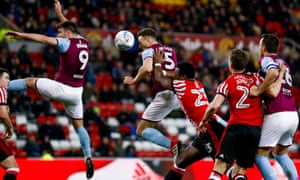 James Chester scores to put Aston Villa 2-0 up against Sunderland in the Championship.