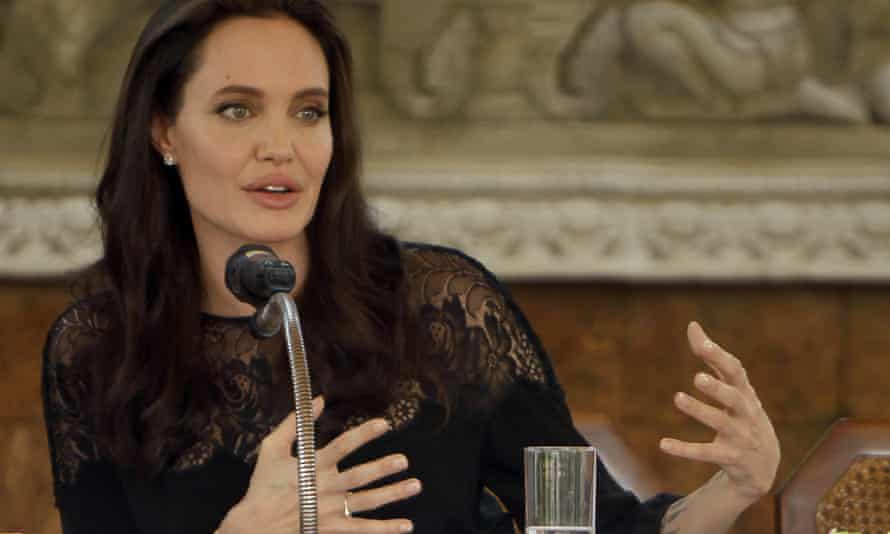 Angelina Jolie at a press conference for First They Killed My Father in Cambodia earlier this year.