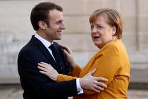 German chancellor Angela Merkel with Emmanuel Macron in February 2019.