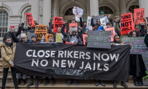 Activists from No New Jails at a rally at to speak out against Mayor Bill de Blasio's plan to build four new jails around New York.