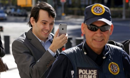 Martin Shkreli arrives for a hearing at US federal court in Brooklyn on 14 October.