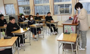 Pupils from Okuma middle school study in a temporary classroom in Aizuwakamatsu in 2015.