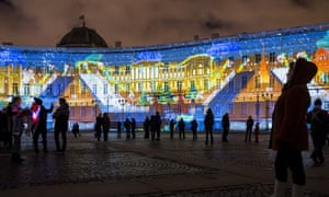 New Year's Eve light show in St Petersburg's Palace Square, Russia