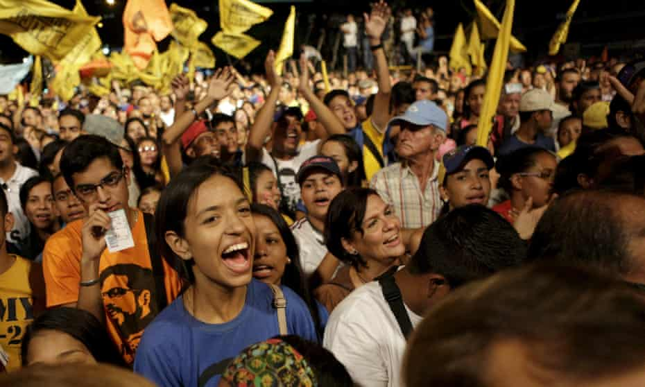 Supporters of the conservative opposition MUD coalition at a rally in Caracas.